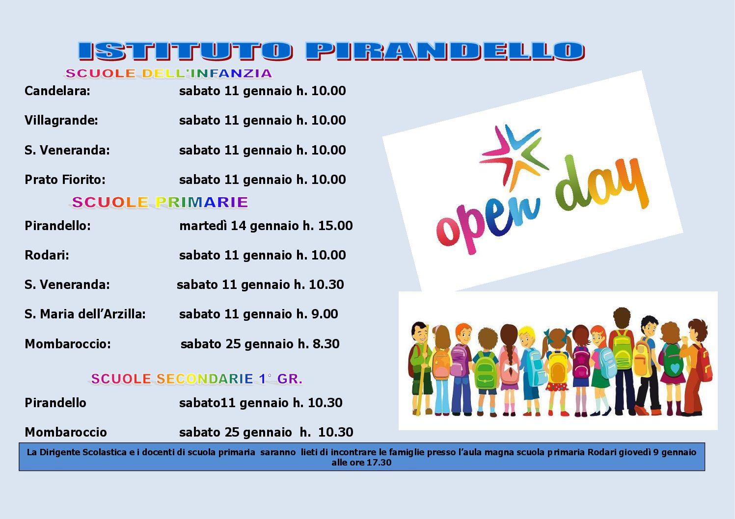 CALENDARIO OPEN DAY A.S. 2019/20