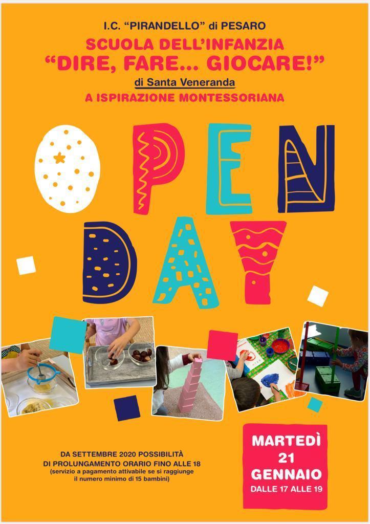 """Open day Scuola dell'Infanzia """"DIRE FARE …GIOCARE!"""""""